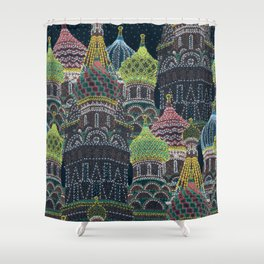 Moscow in Holiday Lights Shower Curtain