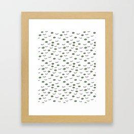 Green eyes and eye lashes, black and white, pattern Framed Art Print