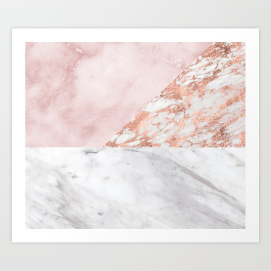 Mixed pinks rose gold marble Art Print