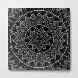 Black and White Lace Mandala Metal Print