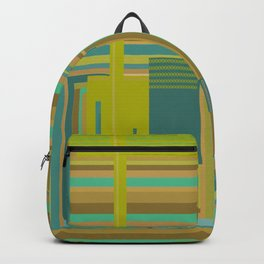 Urban Cactus, graphic design in green tan aquamarine brown teal blue Backpack