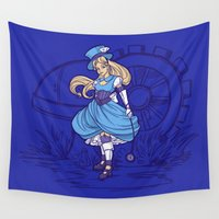 steampunk Wall Tapestries featuring Steampunk Alice by Karen Hallion Illustrations