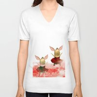 pigs V-neck T-shirts featuring Flying pigs by Annabellerockz
