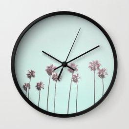 Pink Light Paradiese Beach Palm Trees Wall Clock
