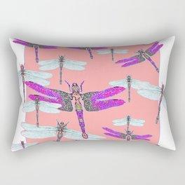 PURPLE  & GOSSAMER WHITE  DRAGONFLIES CORAL ART DESIGN  ART decor, furn Rectangular Pillow