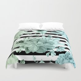 Simply Succulent Garden Striped in Turquoise Green Blue Gradient Duvet Cover