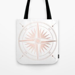 Rose Gold on White Compass Tote Bag