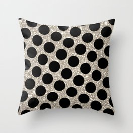 Silver Glitter and Black Polka Dot Throw Pillow
