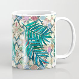 Muted Moroccan Mosaic Tiles with Palm Leaves Coffee Mug