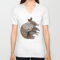 ornate V-neck T-shirts featuring Ornate Armadillo by ArtLovePassion