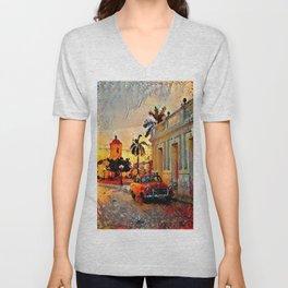 Painted Cuban Sunset Unisex V-Neck