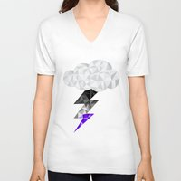 asexual V-neck T-shirts featuring Asexual Storm Cloud by Casira Copes