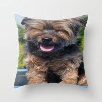yorkie Throw Pillows featuring Yorkie by Sammycrafts