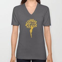 Golden Girl with leaves Unisex V-Neck