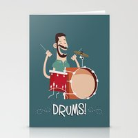 drums Stationery Cards featuring Drums! by soy8bit