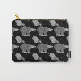Polar Bear in Winter Snow on Black - Wild Animals - Mix & Match with Simplicity of Life Carry-All Pouch