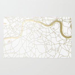White on Yellow Gold London Street Map Rug