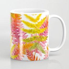Hand painted pink orange watercolor fall fern floral Coffee Mug