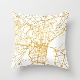 PHILADELPHIA PENNSYLVANIA CITY STREET MAP ART Throw Pillow