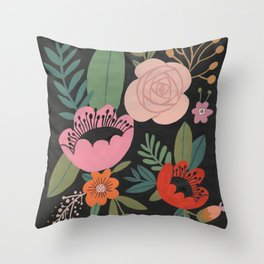 Floral Guache Throw Pillow