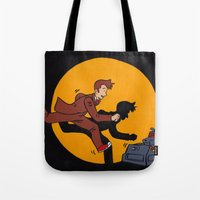 tintin Tote Bags featuring Les Aventures du Docteur by Meghan M Hawkes