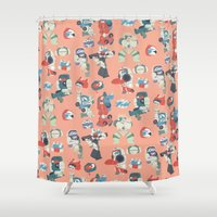 transformer Shower Curtains featuring Minibots by confinedclone