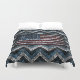 Blue Military Digital Camo Pattern with American Flag Duvet Cover