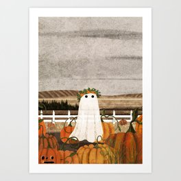 There's a Ghost in the Pumpkins Patch Again... Art Print