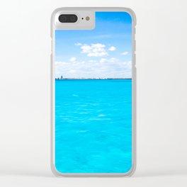 Caribbean Blue Oil Clear iPhone Case