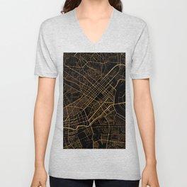 Black and gold Ho Chi Minh map, Vietnam Unisex V-Neck