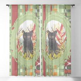 Black Cat jungle Frame pattern Sheer Curtain