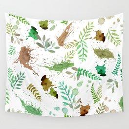 Green Leaves, Paint Splatter, Pattern Wall Tapestry