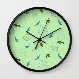 Green Orca and Dolphin Wall Clock