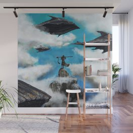 Flying with whales Wall Mural