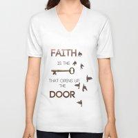 faith V-neck T-shirts featuring Faith by georgiedavey