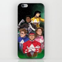 power rangers iPhone & iPod Skins featuring Mighty Morphin' Power Rangers by Ranger Danger
