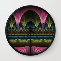 theatre Wall Clocks featuring Theatre of Fantasy Fractal by gabiw Art