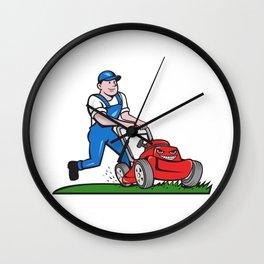 Gardener Mowing Lawn Mower Cartoon Wall Clock