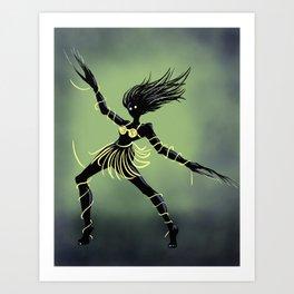 Creepy Midnight Dancing Girl Art Print