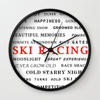 ski Wall Clocks featuring Ski Racing by BACK to THE ROOTS