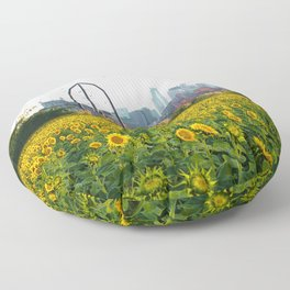 Minneapolis Minnesota Skyline and Sunflowers | Landscape and Photography Collage Floor Pillow