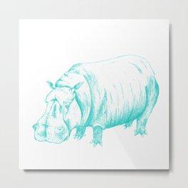 Hippo Turqoise Metal Print