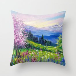 Spring in the Alps Throw Pillow