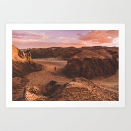 Sunset in Valle De La Luna, Chile Art Print