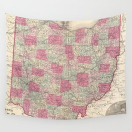 Vintage Map of Ohio (1864) Wall Tapestry