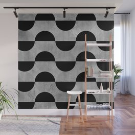 Black abstract 60s circles on concrete - Mix & Match with Simplicty of life Wall Mural