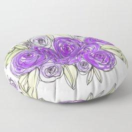 Maid Of Honor Wedding Bridal Purple Violet Lavender Roses Watercolor Floor Pillow