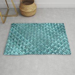 Elegant Teal Turquoise Wicker Basket Weave Pattern Rug
