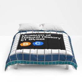 subway natural history sign Comforters