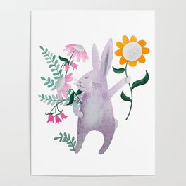 violet bunny with flowers watercolor illustration Poster